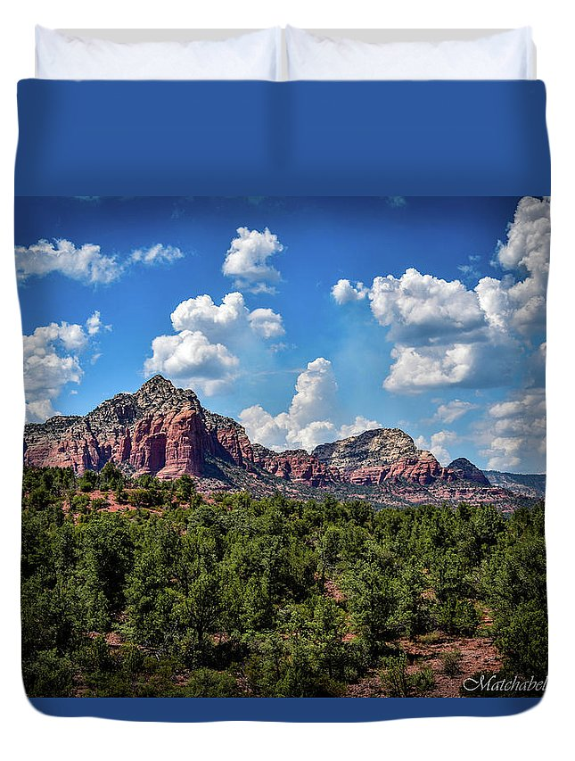 Landscape Photography Duvet Cover featuring the photograph Red Hills And Green Tress by Eric M Bass