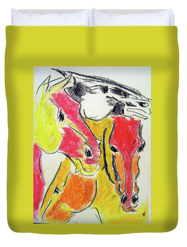 Horse Duvet Cover featuring the drawing Red Horses by Donna Bernstein