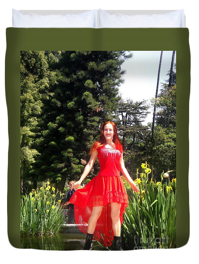 Red Duvet Cover featuring the photograph Red Hot - Ameynra Fashion By Sofia Metal Queen. by Sofia Metal Queen