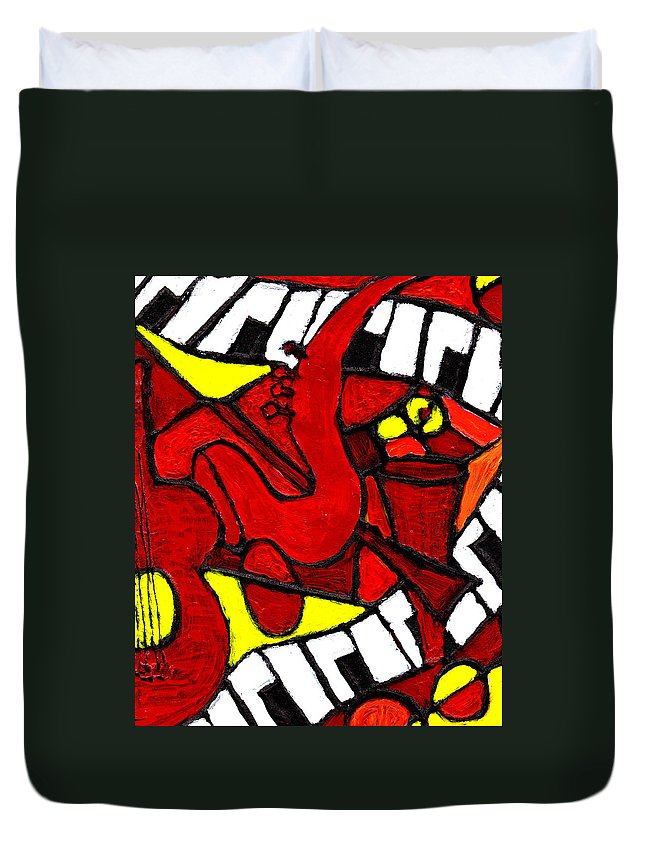 Jazz Duvet Cover featuring the painting Red Hot Jazz by Wayne Potrafka