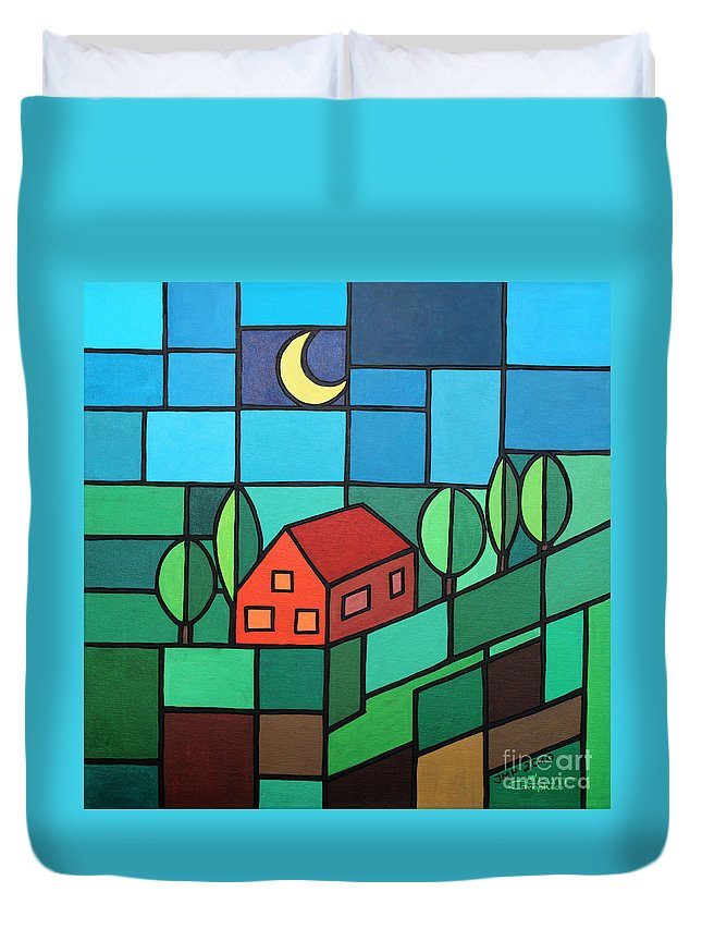 Paint Duvet Cover featuring the painting Red House Amidst The Greenery by Jutta Maria Pusl