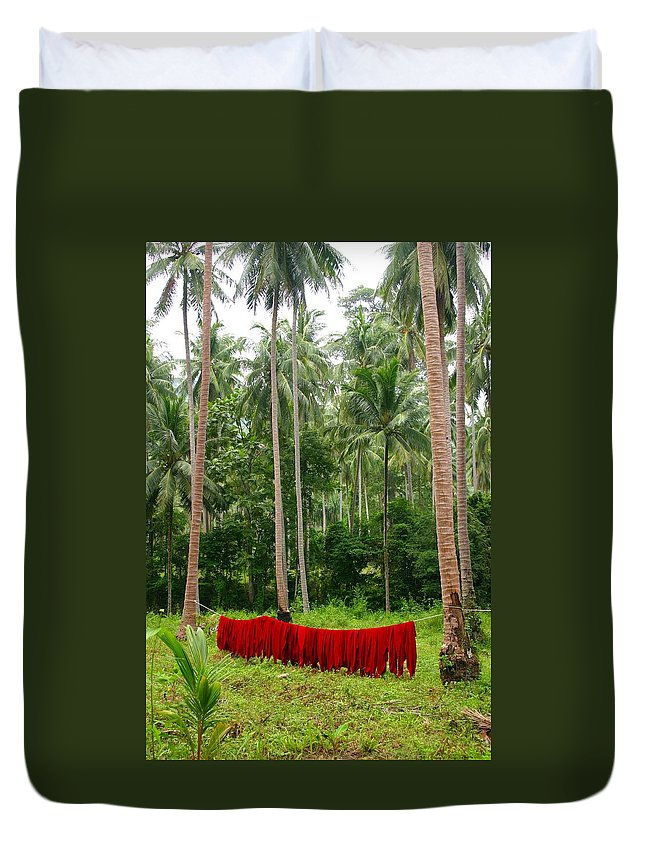 Palm Trees Duvet Cover featuring the photograph Red In The Jungle by Minaz Jantz