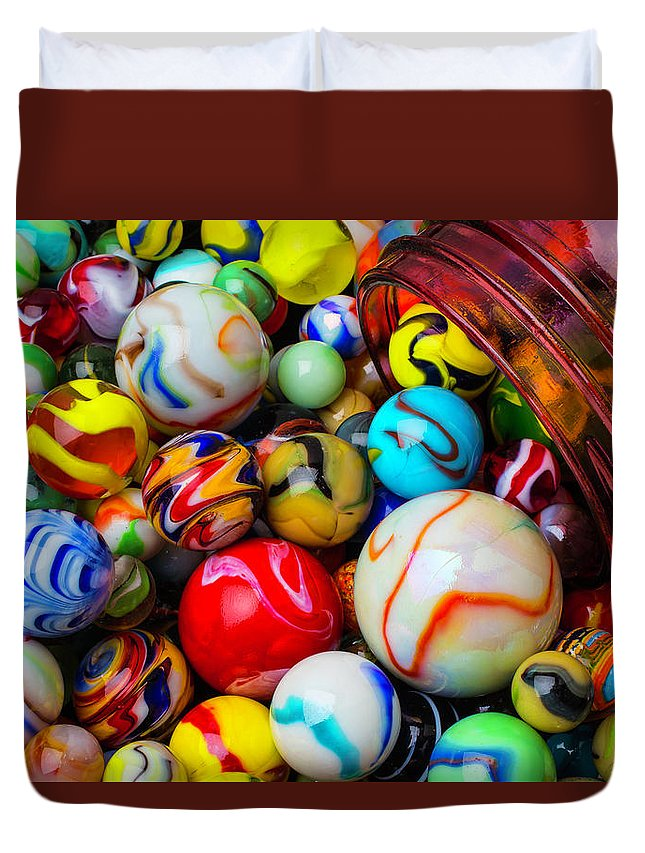 Glass Duvet Cover featuring the photograph Red Jar Spilling Marbles by Garry Gay