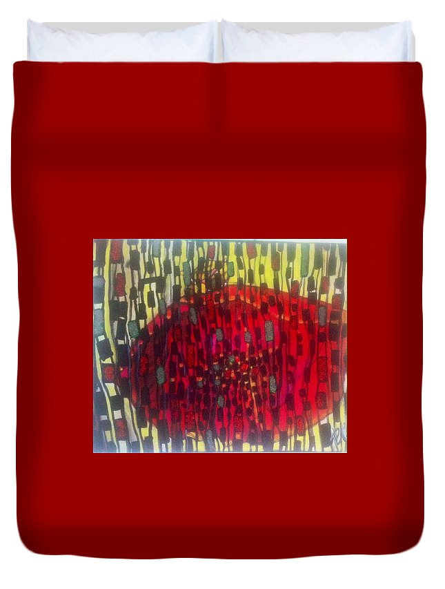 Flowers Duvet Cover featuring the painting Red by Katya Ivanovska