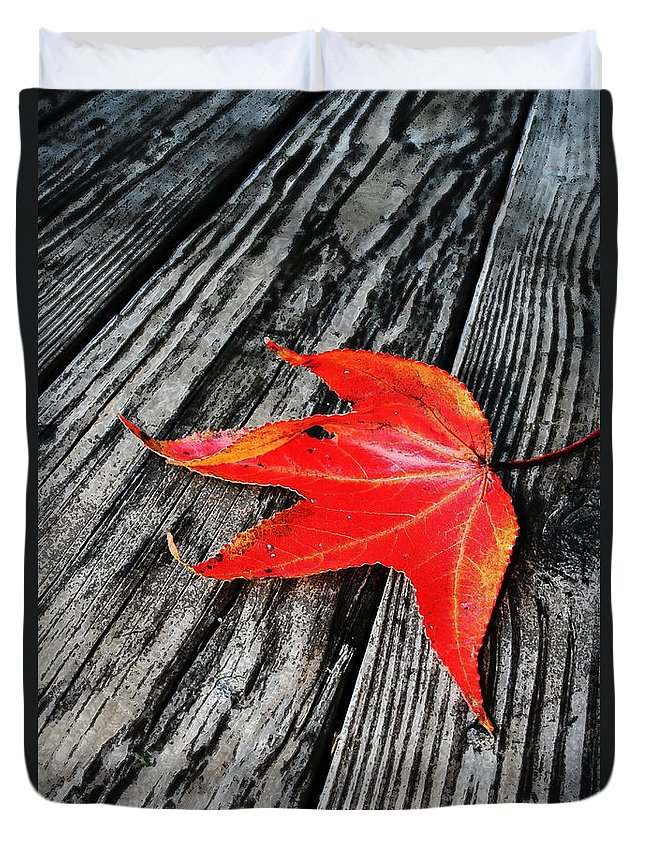 Nature Duvet Cover featuring the photograph Red Leaf by Linda Sannuti