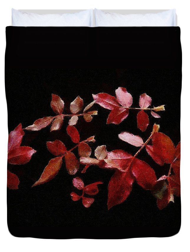 Autumn Duvet Cover featuring the painting Red Leaves by Jeffrey Kolker
