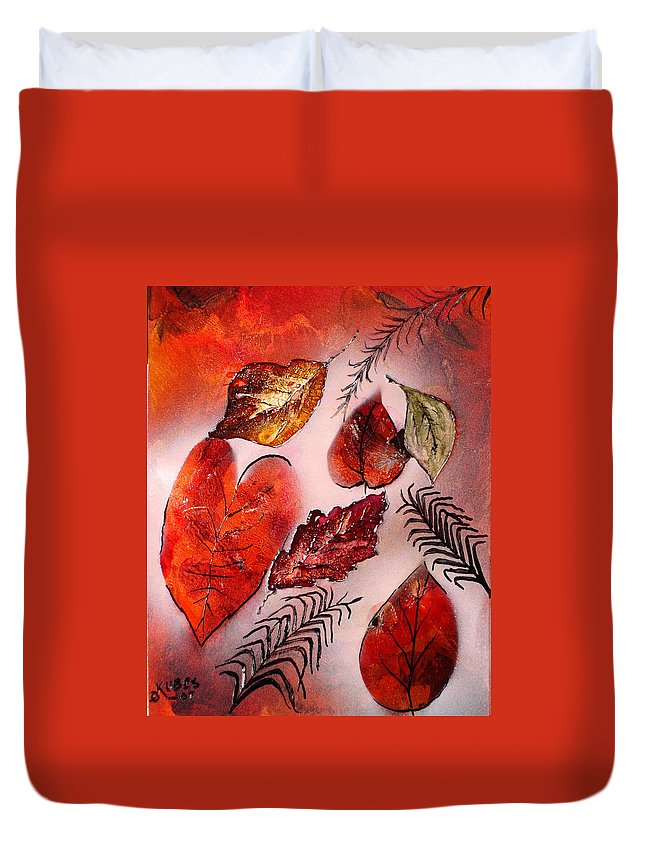 Leaf Duvet Cover featuring the painting Red Leaves by Susan Kubes