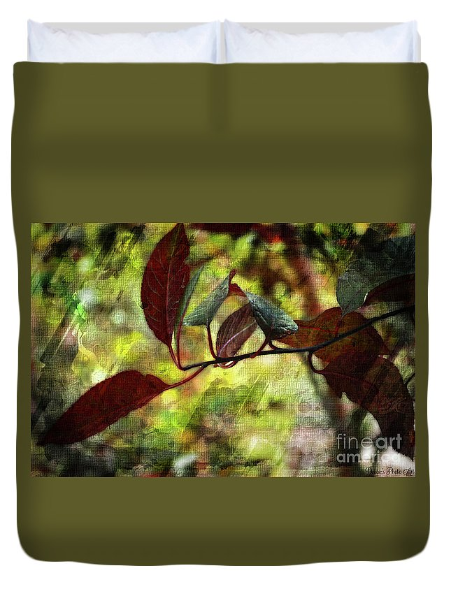 Season Duvet Cover featuring the photograph Red Leaves With Texture by Debbie Portwood