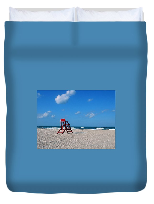 Photography Duvet Cover featuring the photograph Red Life Guard Chair by Susanne Van Hulst