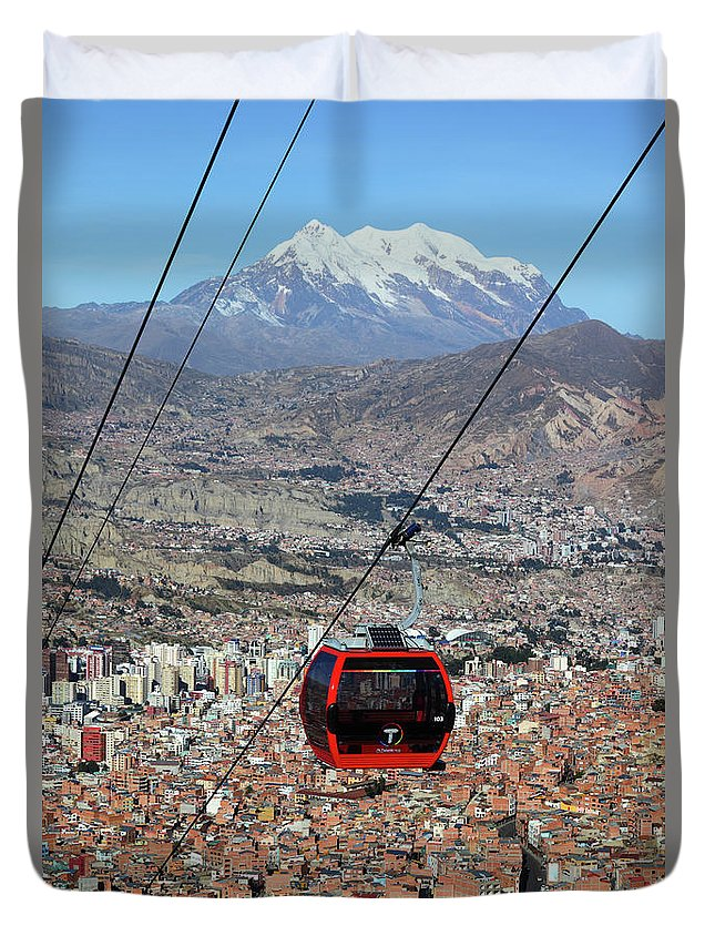 Bolivia Duvet Cover featuring the photograph Red Line Cable Car Cabin And Mt Illimani Bolivia by James Brunker