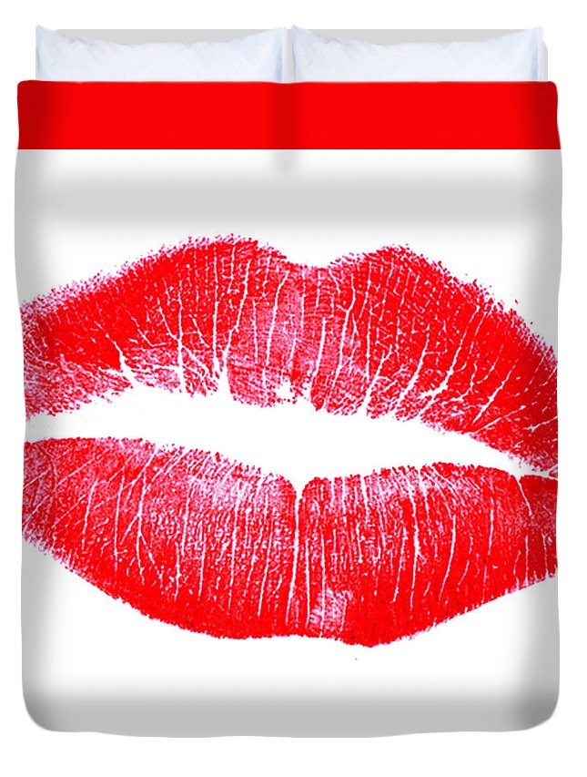 Lips Duvet Cover featuring the digital art Red Lipstick by David Stasiak