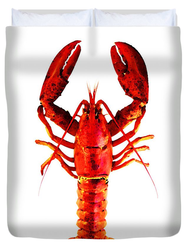 Lobster Duvet Cover featuring the painting Red Lobster - Full Body Seafood Art by Sharon Cummings