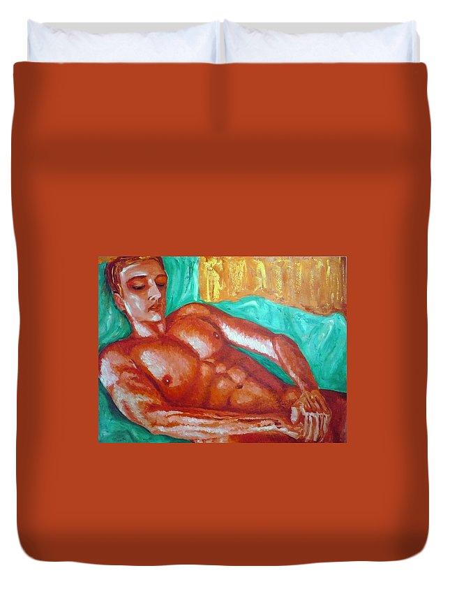 Man Duvet Cover featuring the painting Red Man In Bed by Ericka Herazo