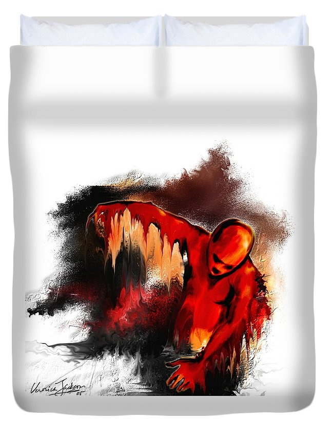 Red Man Passion Sureall Fire Duvet Cover featuring the digital art Red Man by Veronica Jackson