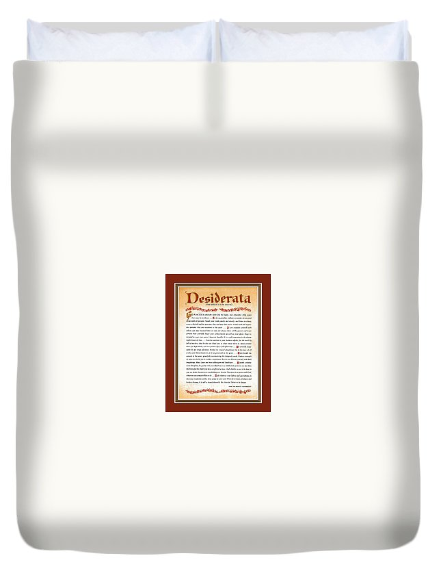 Desiderata Duvet Cover featuring the mixed media Red Matted Floral Scroll Desiderata Poem by Desiderata Gallery