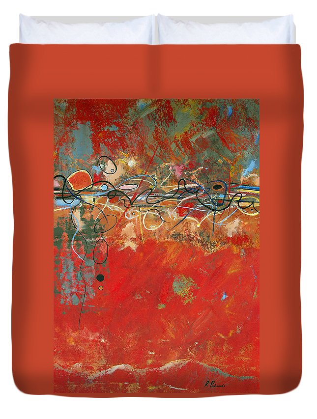 ruth Palmer Abstract Gestural Color Red Painting Acrylic Black Orange Blue Yellow Green Decorative Duvet Cover featuring the painting Red Meander by Ruth Palmer