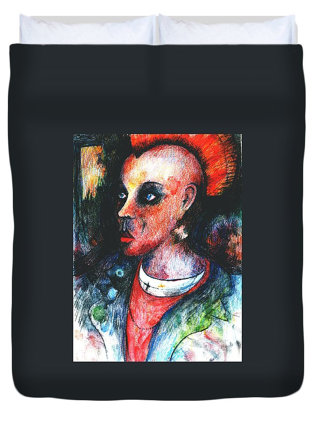 Urban Duvet Cover featuring the drawing Red Mohican by Andy Mercer