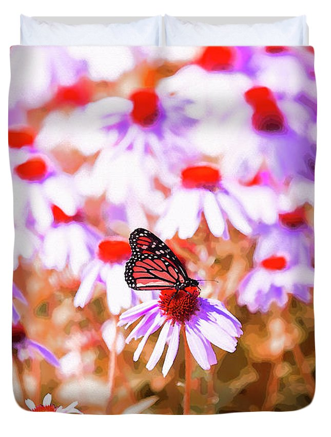 Butterfly Duvet Cover featuring the digital art Red Monarch by David Stasiak