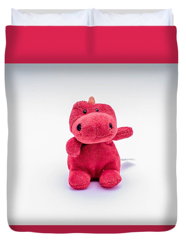 Fury Toy Monster Red Duvet Cover featuring the photograph Red Monster by Patrick Lennon
