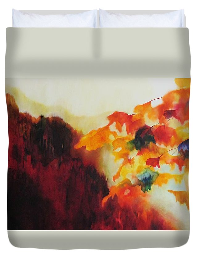 Landscape Duvet Cover featuring the painting Red Mountain by Peggy Guichu