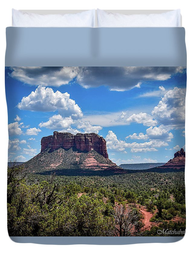 Landscape Photography Duvet Cover featuring the photograph Red Mountain Top by Eric M Bass