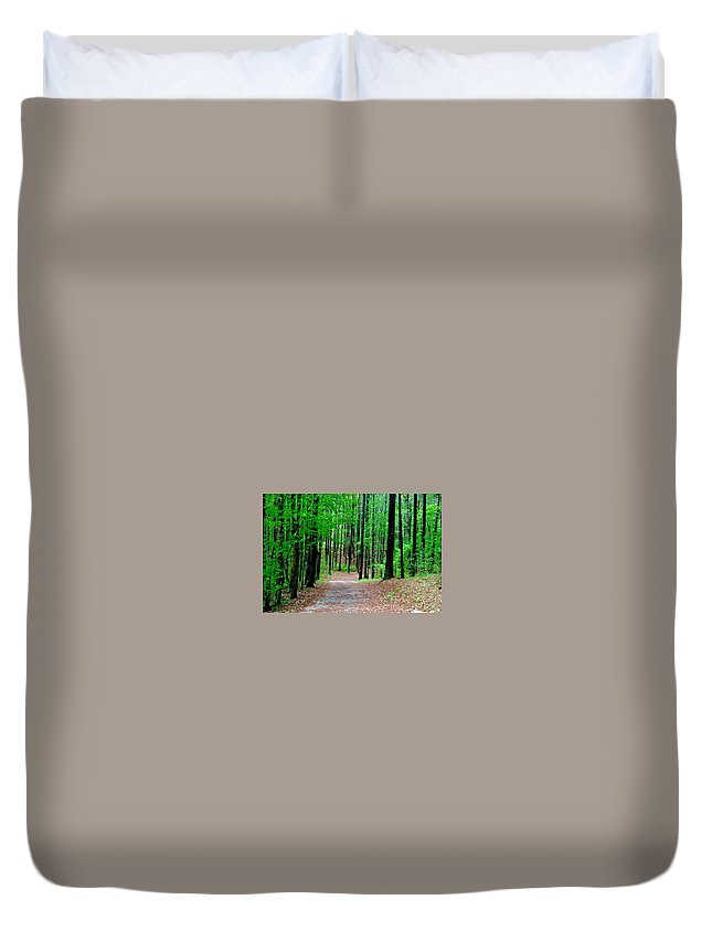 Duvet Cover featuring the photograph Red Mountain Trail by Richard Brooke