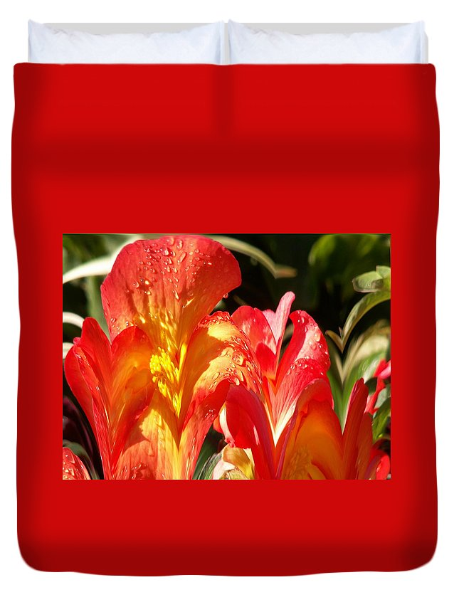 Flowers Duvet Cover featuring the photograph Red N Yellow Flowers 2 by Tim Allen