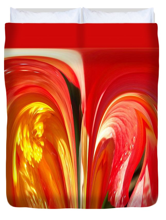 Flowers Duvet Cover featuring the photograph Red N Yellow Flowers 4 by Tim Allen
