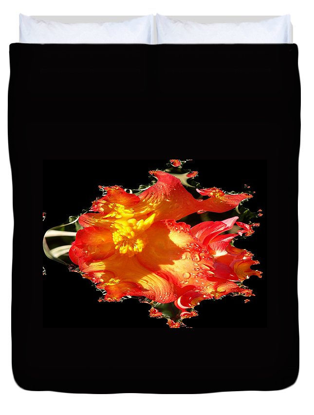 Flowers Duvet Cover featuring the digital art Red N Yellow Flowers by Tim Allen