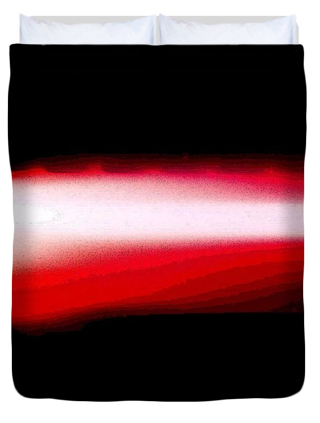 Red Duvet Cover featuring the digital art Red Neon Light by April Patterson