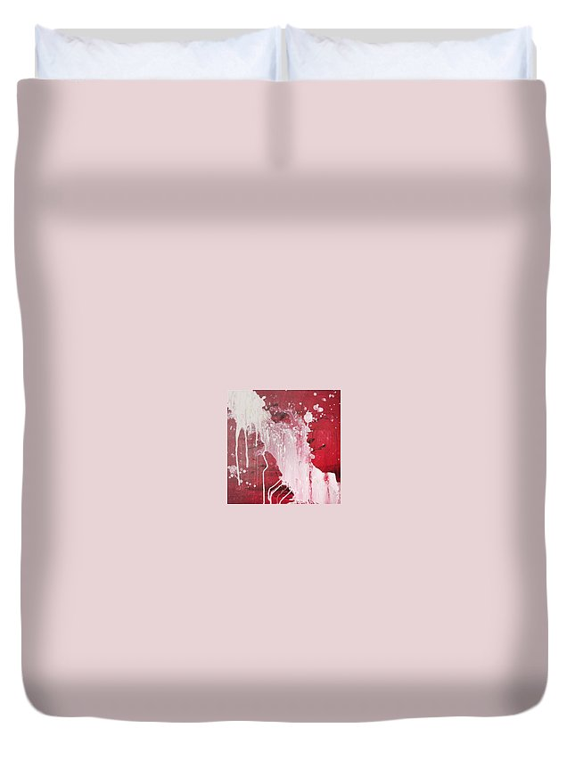Warm Red And White Catchment Duvet Cover featuring the painting Red Number Seven by Erkki Poso
