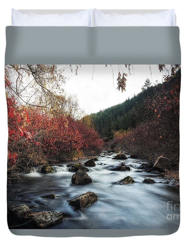 Usa Duvet Cover featuring the photograph Red Oak Slow River by Mitch Johanson