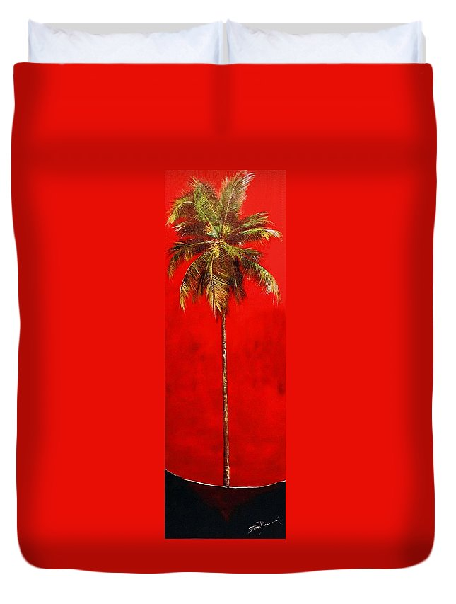 Palm Duvet Cover featuring the painting Red Palm by Stephen Broussard