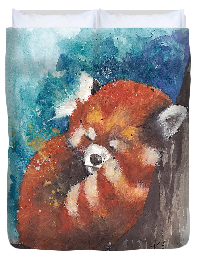 Red Panda Duvet Cover featuring the painting Red Panda Sleeping by Morgan Adams