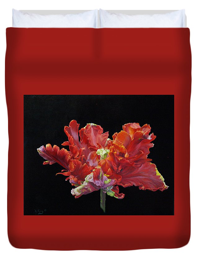 Roena King Duvet Cover featuring the painting Red Parrot Tulip - Oils by Roena King