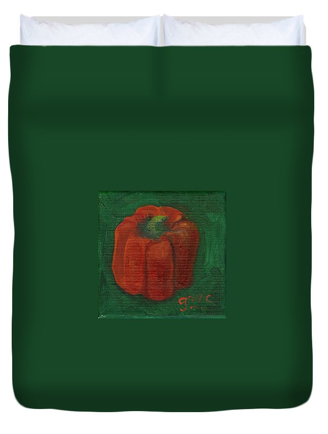 Red Duvet Cover featuring the painting Red Pepper On Linen by Gloria Condon