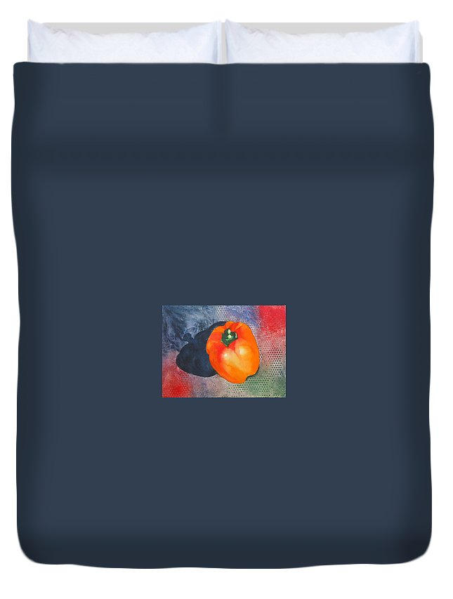 Pepper Duvet Cover featuring the painting Red Pepper Solo by Jean Blackmer