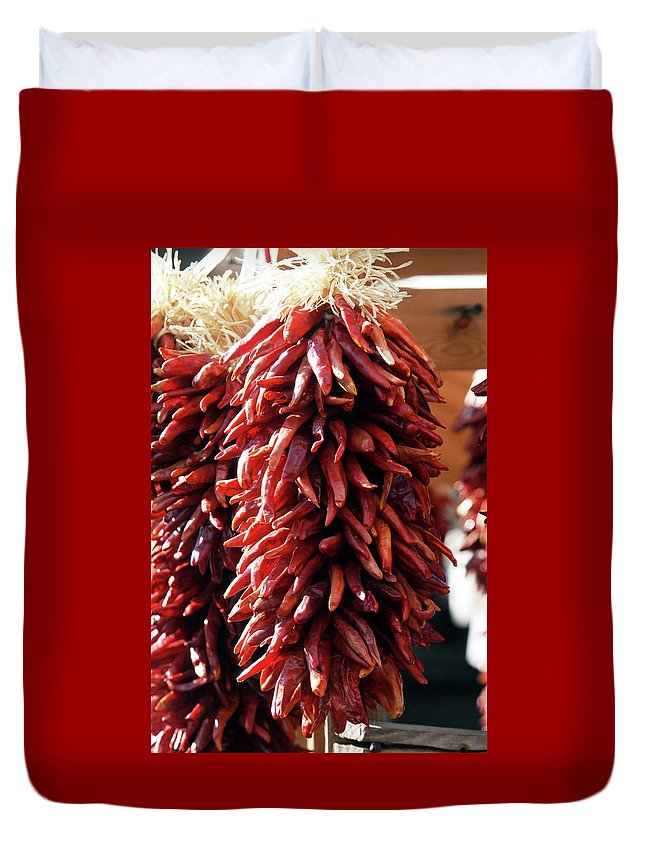 Peppers Duvet Cover featuring the photograph Red Peppers by Alynne Landers