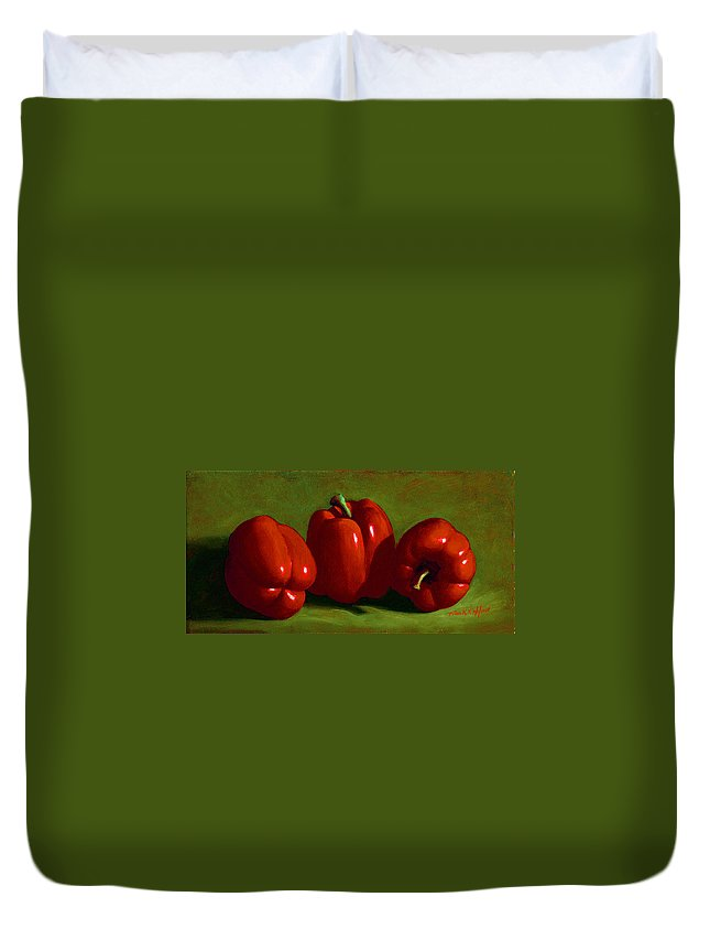 Red Peppers Duvet Cover featuring the painting Red Peppers by Frank Wilson