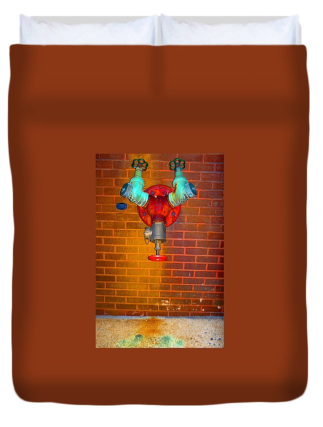 Photograph Duvet Cover featuring the photograph Red Pipe by Thomas Valentine