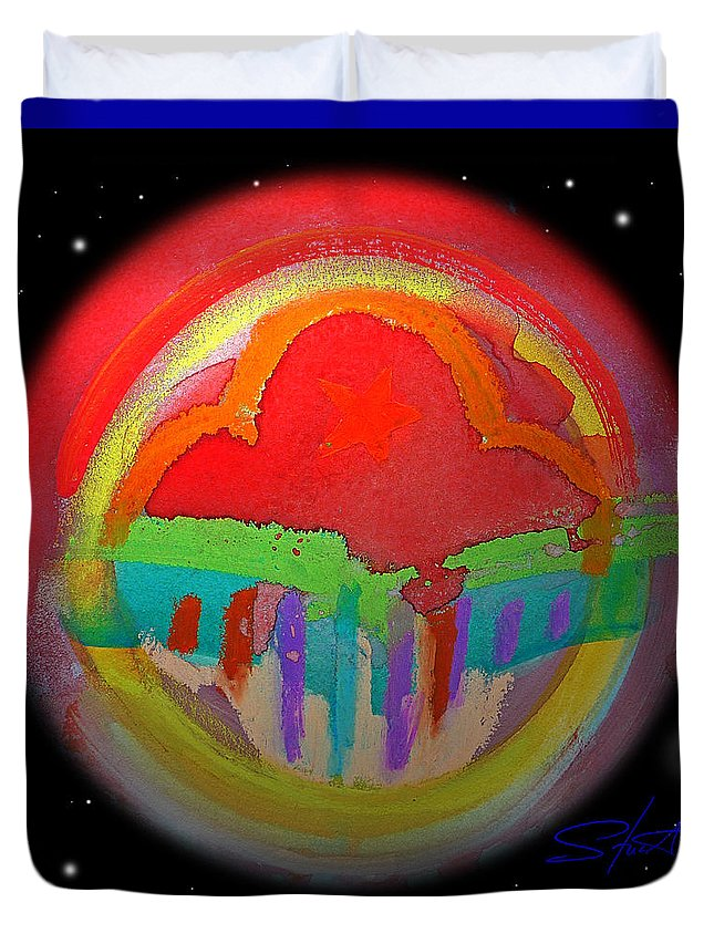 Landscape Duvet Cover featuring the painting Red Planet by Charles Stuart