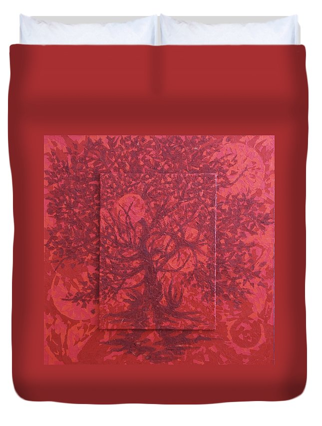 Red Duvet Cover featuring the painting Red Planet by Judy Henninger