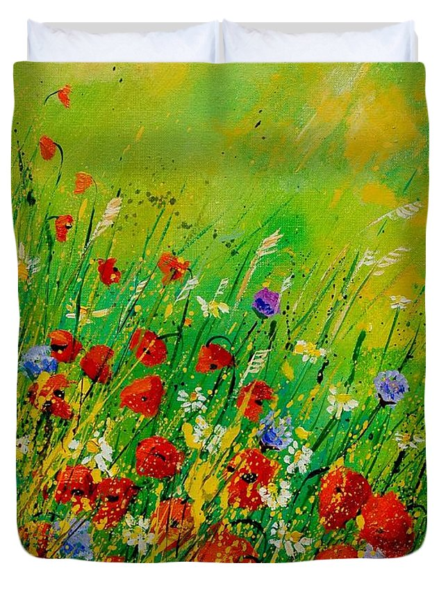 Flowers Duvet Cover featuring the painting Red Poppies 450708 by Pol Ledent