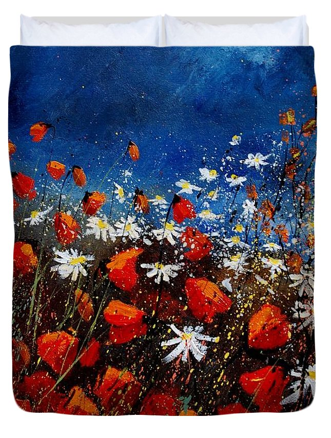Flowers Duvet Cover featuring the painting Red Poppies 451108 by Pol Ledent