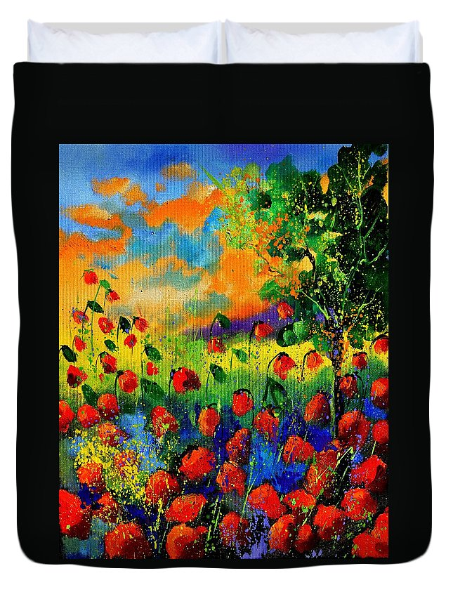 Flowers Duvet Cover featuring the painting Red Poppies 45150 by Pol Ledent
