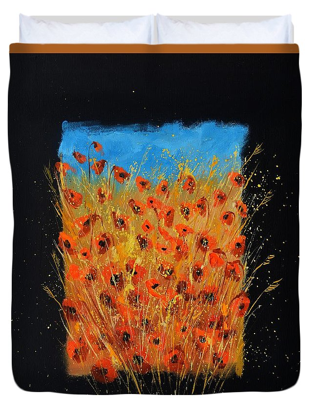 Landscape Duvet Cover featuring the painting Red Poppies 6771 by Pol Ledent