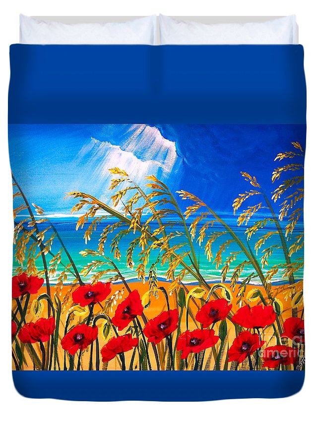 Red Flowers Art Duvet Cover featuring the painting Red Poppies And Sea Oats By The Sea by Patricia L Davidson