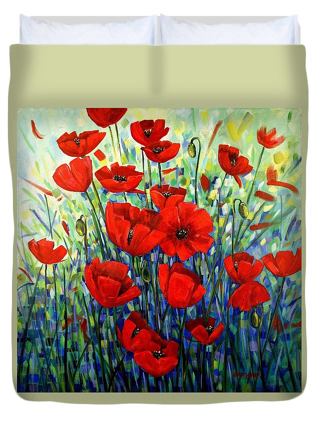 Floral Duvet Cover featuring the painting Red Poppies by Georgia Mansur