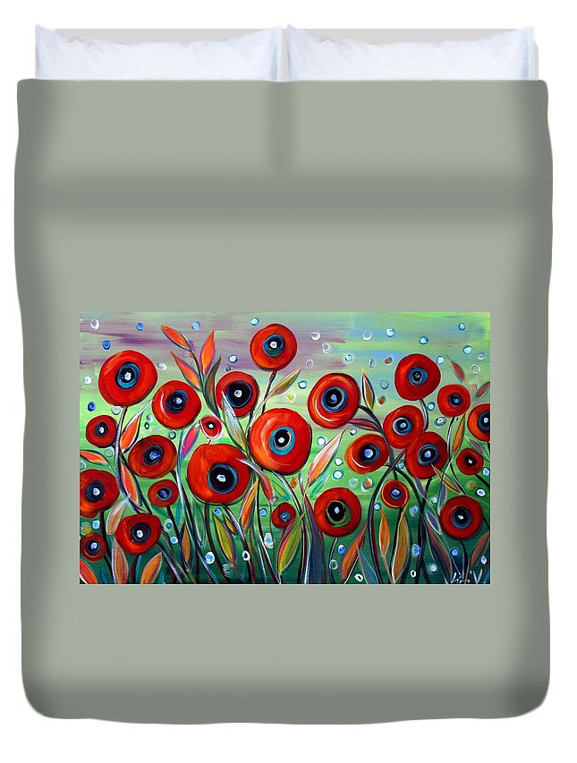 Flowers Duvet Cover featuring the painting Red Poppies In Grass by Luiza Vizoli