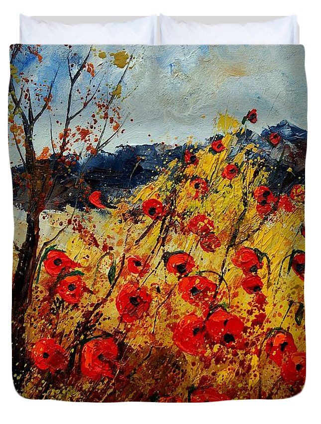 Poppies Duvet Cover featuring the painting Red Poppies In Provence by Pol Ledent